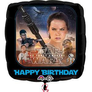 Star Wars; The Force Awakens 'Happy Birthday' Vierkant Folie Ballon 45cm
