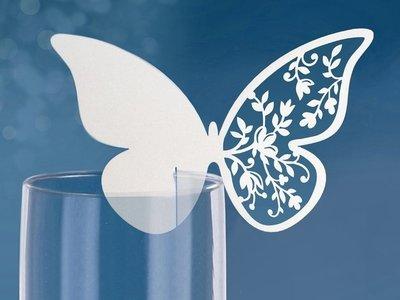 Vlinder met Bloemen Glas Plaatskaarten 10st