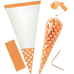 Oranje Cellofaan Kegel Snoepzak 10st