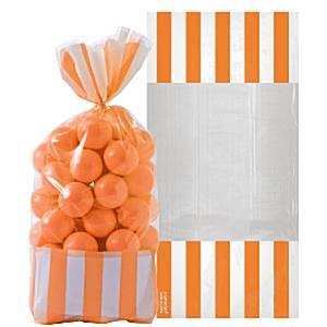 Oranje Strepen Cellofaan Snoepzak 10st