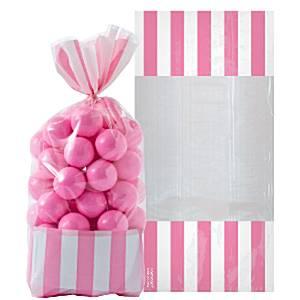 Roze Strepen Cellofaan Snoepzak 10st