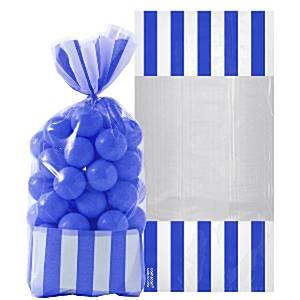 Konings Blauw Strepen Cellofaan Snoepzak 10st
