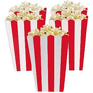 Rood Strepen Popcorn Bak 5st