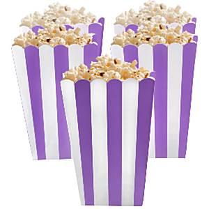 Paars Strepen Popcorn Bak 5st