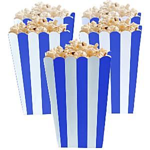 Koninklijk Blauw Strepen Popcorn Bak 5st