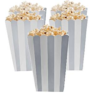 Zilver Strepen Popcorn Bak 5st
