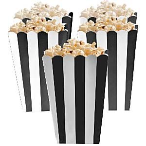 Zwart Strepen Popcorn Bak 5st