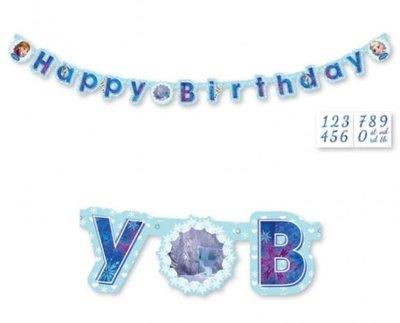 Frozen 'Happy Birthday' Slinger Blauw 3m