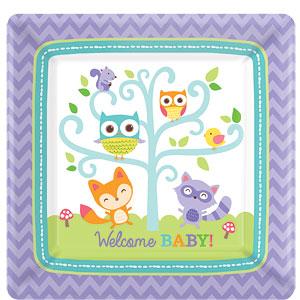 Woodland Baby Vierkante Papieren Borden 8st