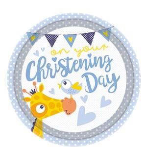 Blauw 'Christening Day' Papieren Borden 8st