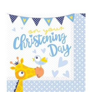 Blauw 'Christening Day' Tafel Servetten 16st