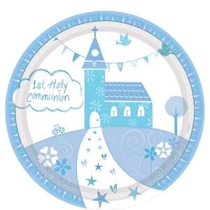 Blauw Communie Kerk Papieren Borden 8st