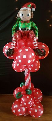 Kerstelf met Maretak Luxe Ballonnenpilaar