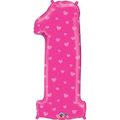 Roze Cijfer 1 met Hartjes Folie Ballon 96cm