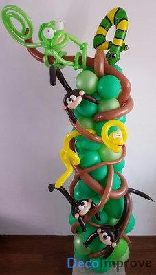 Jungle Ballonnenpilaar met Jungledieren