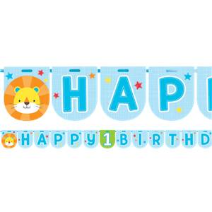 Blauw One is Fun 'Happy Birthday' Letter Slinger 240cm