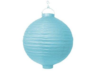 Hemels Blauw Papieren Lampion met LEDverlichting 30cm Sky Blue