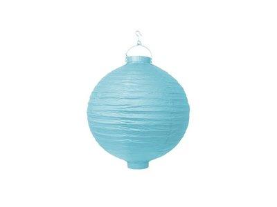 Hemels Blauw Papieren Lampion met LEDverlichting 20cm Sky Blue