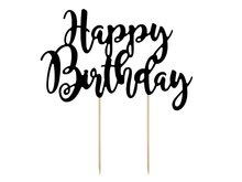 Zwart Happy Birthday Taartprikker 22.5cm