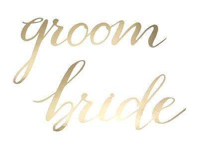 Goud Letters 'Bride' en 'Groom' Borden Stoel Versiering 2st