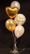 Just Married en Gouden Hart Tros Helium Ballonnen Boeket