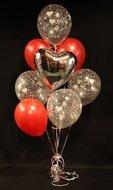 Zilveren Harten Helium Ballonnen Boeket