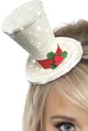 Wit Glitter Kerst Hoedje op Diadeem