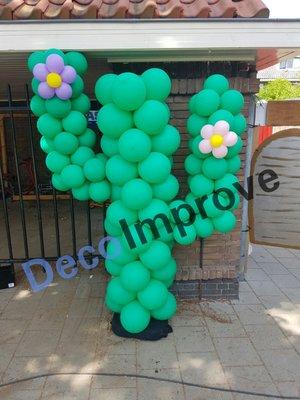 Cactus met Bloesem Ballonnenpilaar Ballondecoratie
