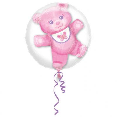 Roze Teddybeer Baby Meisje Insider Folie Ballon 60cm