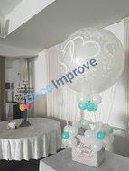 Verbonden Harten Luchtballon met Enveloppenkist Ballondecoratie