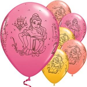 Belle en het Beest Geel en Roze Bedrukte Latex Ballonnen 25st