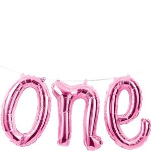 Roze 'One' Sierletters Slinger Folie Ballon 150cm