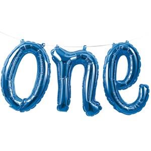 Blauw 'One' Sierletters Slinger Folie Ballon 150cm