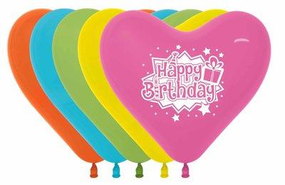 Verjaardag 'Happy Birthday' Harten Latex Ballonnen Assorti. 12st