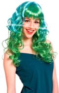 Blauw Groen met Krullen Pruik Lang