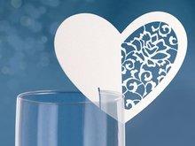 Hart met Rozen Glas Plaatskaarten 10st