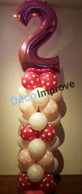 Ballonnenpilaar Standaard 2e Verjaardag Roze Polkadot 180cm Clusters van 4