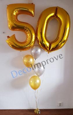 Gouden '50' Ballonnenboeket