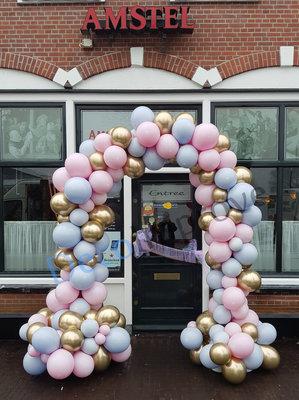 Ballonnenboog Soft Pastel Pink and Blue Organic Enkeldeurs