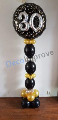 Sprankelend 30 Jaar 3D Helium Ballonnenpilaar