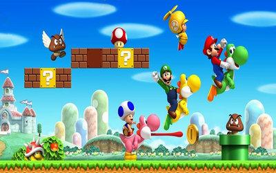 Super Mario Bros Backdrop 200x300cm Verhuur