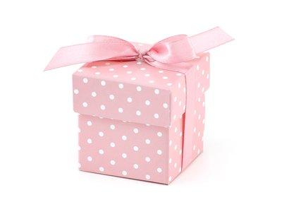 Roze Polkadots Geschenk Doosje 10st
