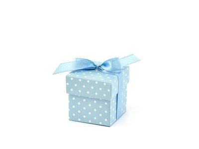Blauw Polkadots Geschenk Doosje 10st