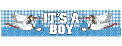 Blauw It's A Boy Folie Banner 260cm