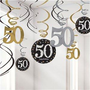 Sprankelende 50e Verjaardag Hangkrullen 12st