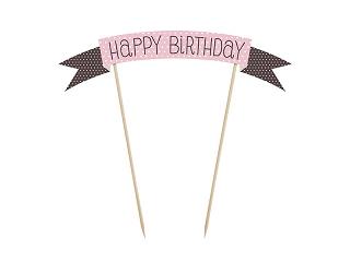 Roze Polkadot 'Happy Birthday' Taartprikker