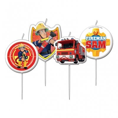 Brandweerman Sam Mini Taartkaarsen 4st
