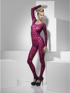Fever Neon Roze Cheeta Print Bodysuit - One Size
