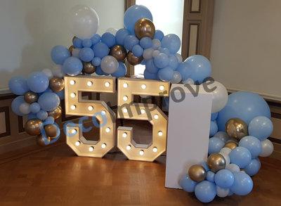Blauw Goud Organic Slinger Ballondecoratie per Meter