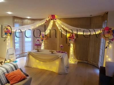 Organic Prieel met Tule en Bloemen Ballondecoratie